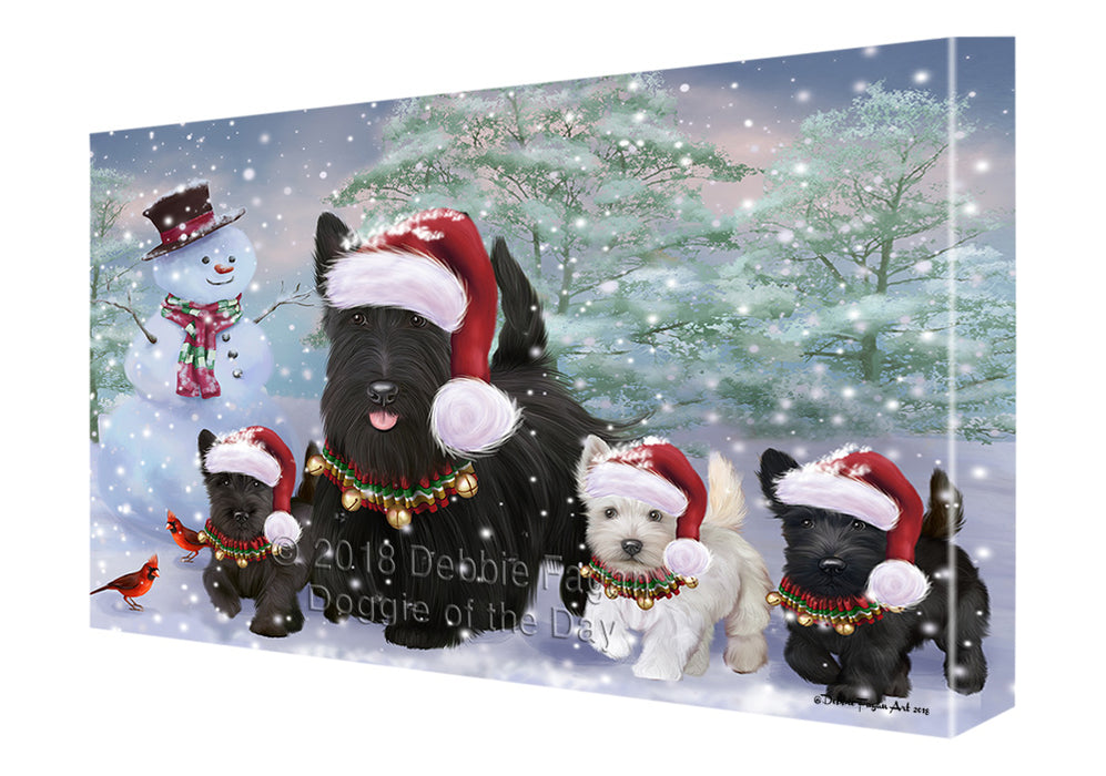 Christmas Running Family Scottish Terrier Dogs Canvas Print Wall Art Décor CVS136664