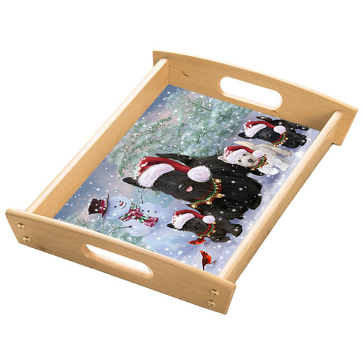 Christmas Running Family Scottish Terrier Dogs Wood Serving Tray with Handles Natural TRA49858