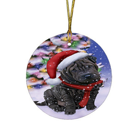 Winterland Wonderland Shar Pei Dog In Christmas Holiday Scenic Background  Round Flat Christmas Ornament RFPOR53407