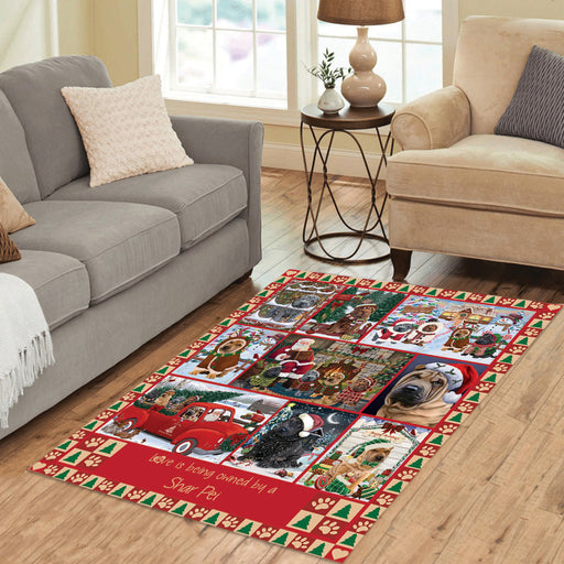 Love is Being Owned Christmas Shar Pei Dogs Area Rug
