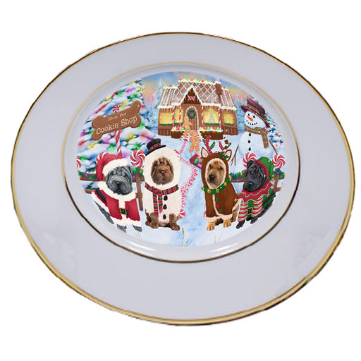 Holiday Gingerbread Cookie Shop Shar Peis Dog Porcelain Plate PLT54967