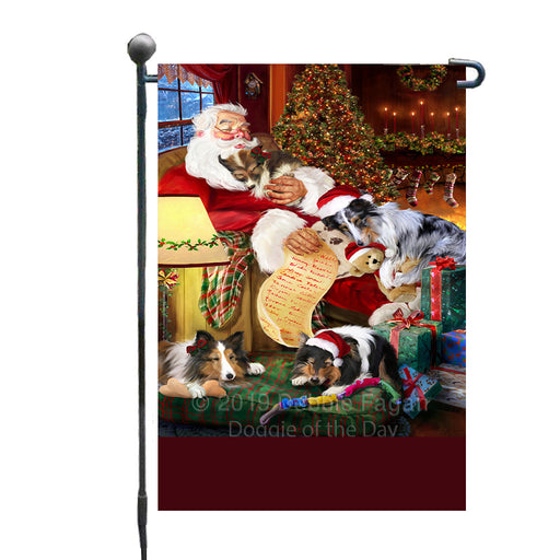 Personalized Sheltie Dogs and Puppies Sleeping with Santa Custom Garden Flags GFLG-DOTD-A62667