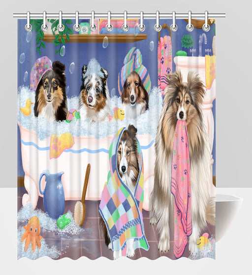 Rub A Dub Dogs In A Tub Shetland Sheepdogs Shower Curtain