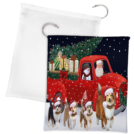 Christmas Express Delivery Red Truck Running Shetland Sheepdogs Drawstring Laundry or Gift Bag LGB48928