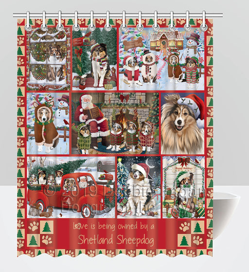 Love is Being Owned Christmas Shetland Sheepdogs Shower Curtain