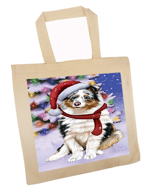 Winterland Wonderland Shetland Sheepdog In Christmas Holiday Scenic Background  Tote TTE53419