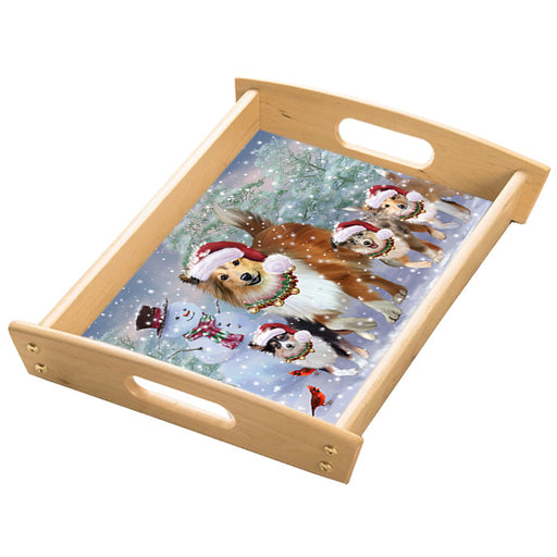 Christmas Running Family Shetland Sheepdogs Wood Serving Tray with Handles Natural TRA49859