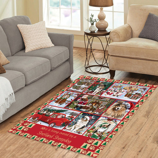 Love is Being Owned Christmas Shetland Sheepdogs Area Rug