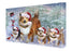 Christmas Running Family Shetland Sheepdogs Canvas Print Wall Art Décor CVS136673