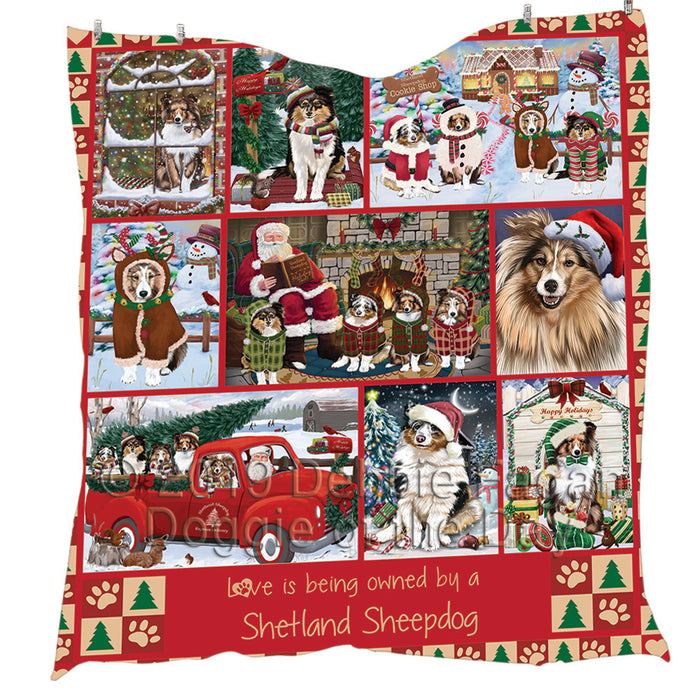 Love is Being Owned Christmas Shetland Sheepdogs Quilt