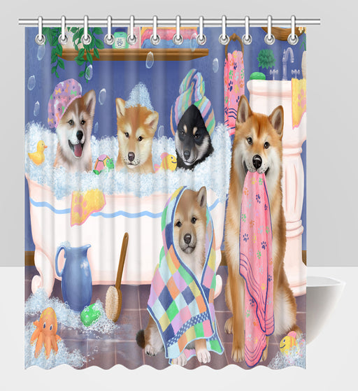 Rub A Dub Dogs In A Tub Shiba Inu Dogs Shower Curtain