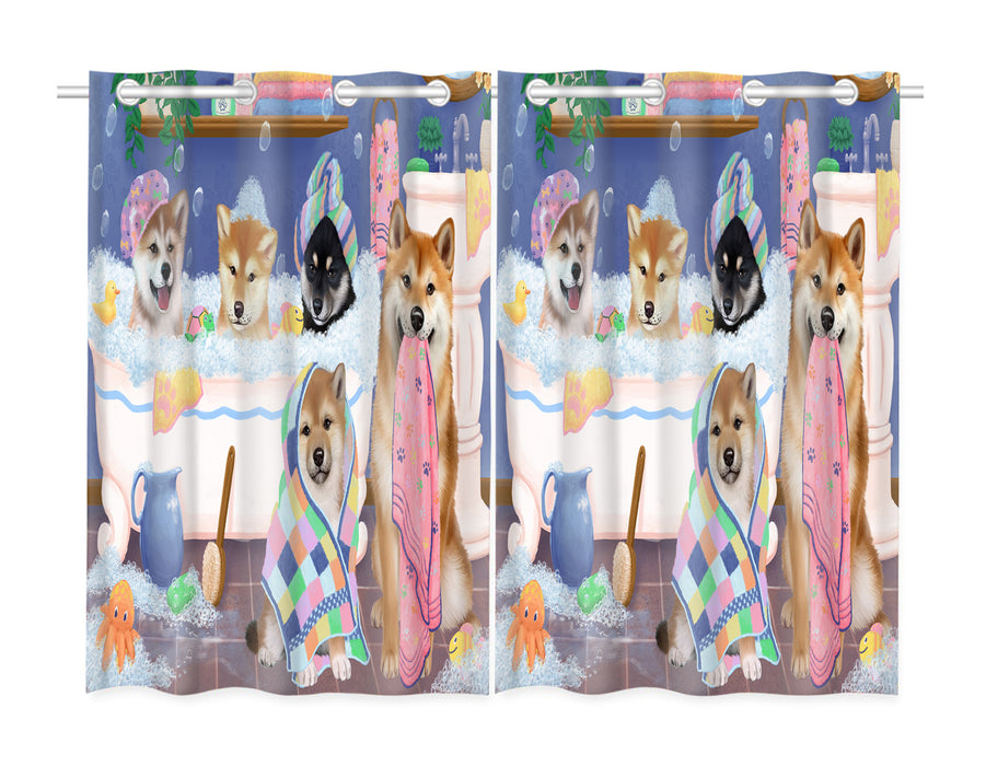 Rub A Dub Dogs In A Tub Shiba Inu Dogs Window Curtain