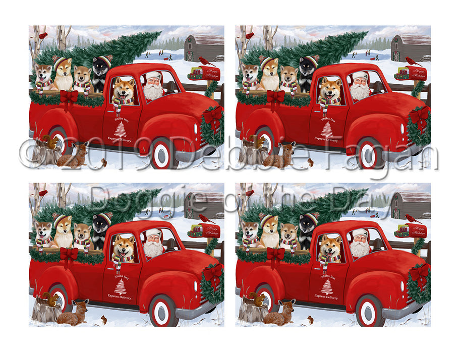 Christmas Santa Express Delivery Red Truck Shiba Inu Dogs Placemat