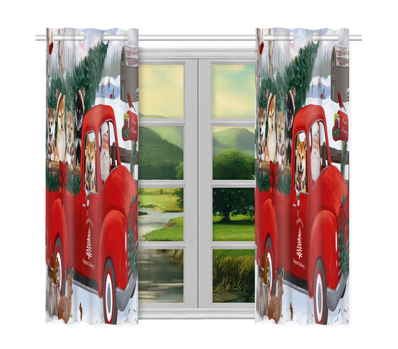 Christmas Santa Express Delivery Red Truck Shiba Inu Dogs Window Curtain