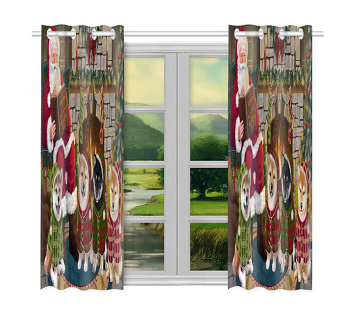 Christmas Cozy Holiday Fire Tails Shiba Inu Dogs Window Curtain