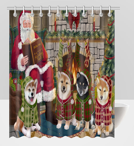 Christmas Cozy Holiday Fire Tails Shiba Inu Dogs Shower Curtain