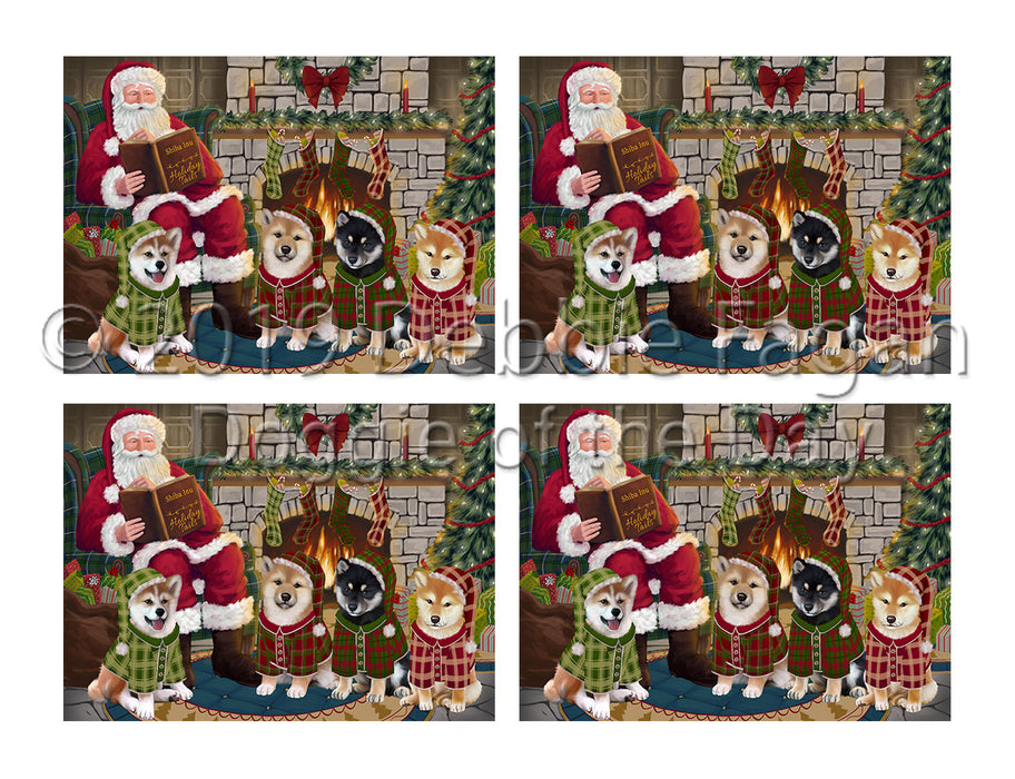 Christmas Cozy Holiday Fire Tails Shiba Inu Dogs Placemat