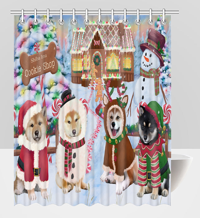 Holiday Gingerbread Cookie Shiba Inu Dogs Shower Curtain