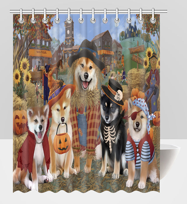 Halloween 'Round Town Shiba Inu Dogs Shower Curtain