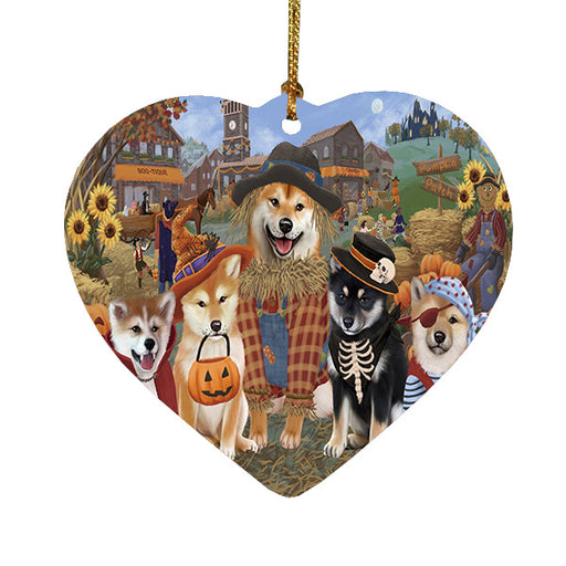 Halloween 'Round Town Shiba Inu Dogs Heart Christmas Ornament HPOR57703