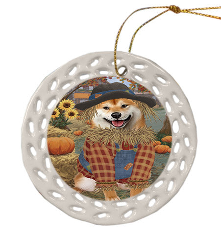Fall Pumpkin Scarecrow Shiba Inu Dogs Ceramic Doily Ornament DPOR57764