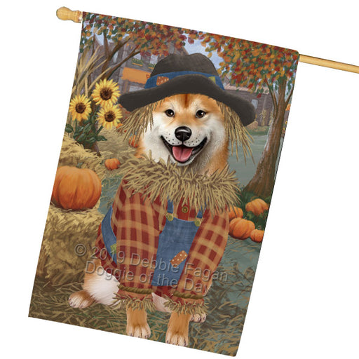 Fall Pumpkin Scarecrow Shiba Inu Dogs House Flag FLG65976