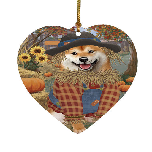 Fall Pumpkin Scarecrow Shiba Inu Dogs Heart Christmas Ornament HPOR57764