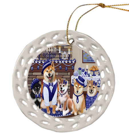 Happy Hanukkah Family Shiba Inu Dogs Ceramic Doily Ornament DPOR57733