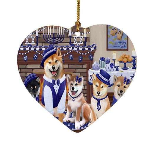 Happy Hanukkah Family Shiba Inu Dogs Heart Christmas Ornament HPOR57733