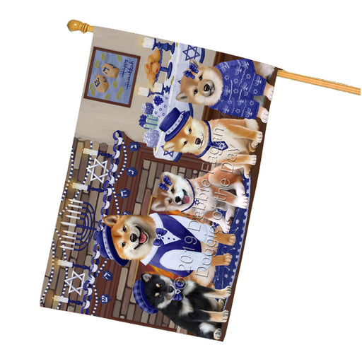 Happy Hanukkah Family Shiba Inu Dogs House Flag FLG65945