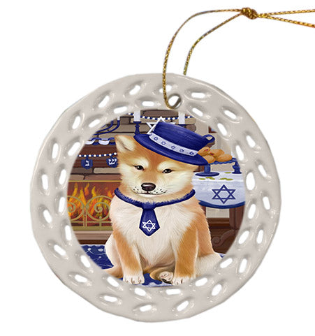 Happy Hanukkah Shiba Inu Dog Ceramic Doily Ornament DPOR57794