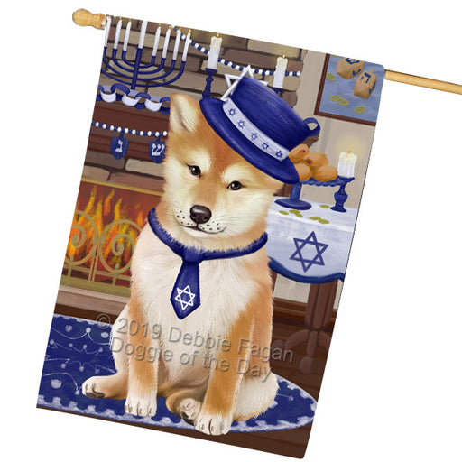 Happy Hanukkah Shiba Inu Dog House Flag FLG66006
