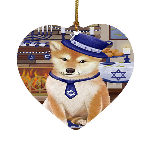 Happy Hanukkah Shiba Inu Dog Heart Christmas Ornament HPOR57794