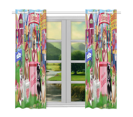 Carnival Kissing Booth Shiba Inu Dogs Window Curtain