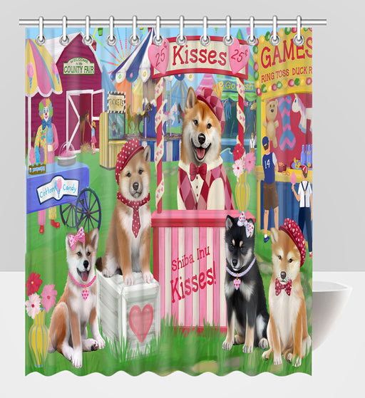 Carnival Kissing Booth Shiba Inu Dogs Shower Curtain