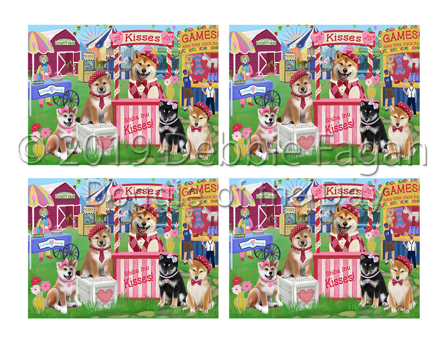 Carnival Kissing Booth Shiba Inu Dogs Placemat