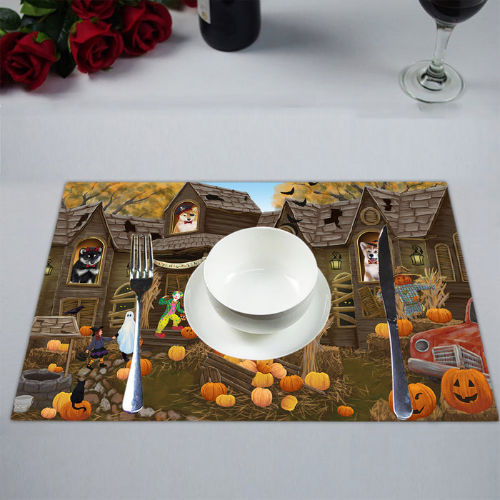 Haunted House Halloween Trick or Treat Shiba Inu Dogs Placemat