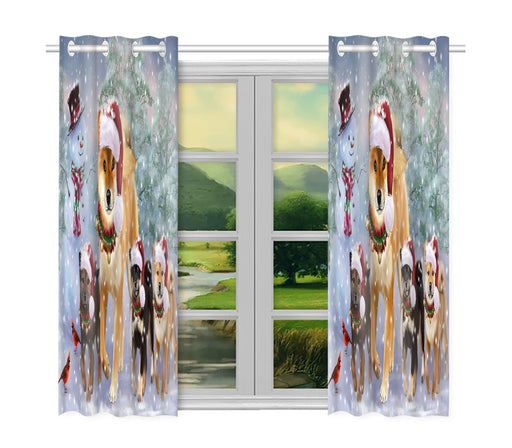 Christmas Running Fammily Shiba Inu Dogs Window Curtain