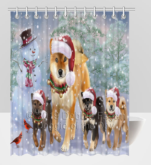 Christmas Running Fammily Shiba Inu Dogs Shower Curtain