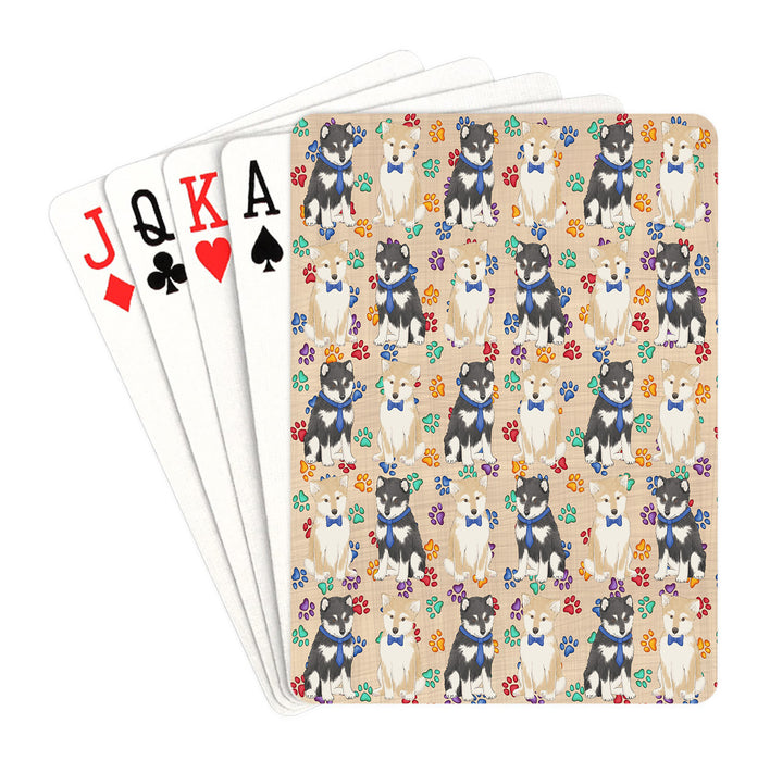 Rainbow Paw Print Shiba Inu Dogs Blue Playing Card Decks