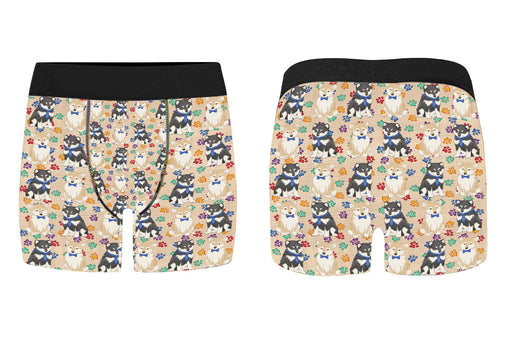 Rainbow Paw Print Shiba Inu Dogs Blue Men's Classic Boxer Briefs