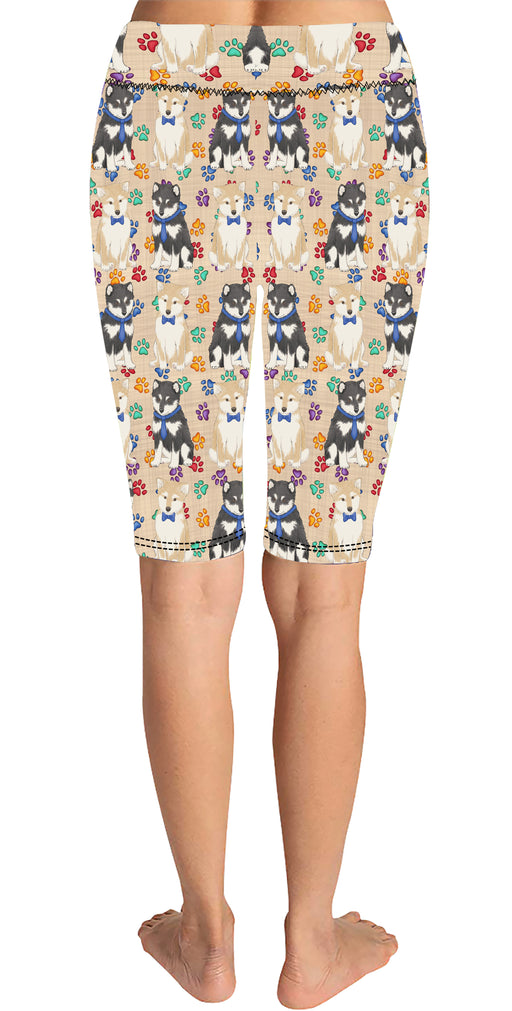 Rainbow Paw Print Shiba Inu Dogs Blue Knee Length Leggings