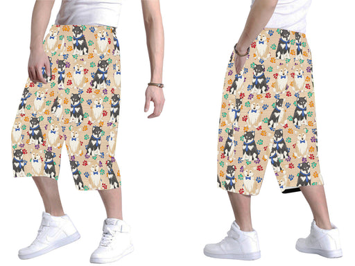 Rainbow Paw Print Shiba Inu Dogs Blue All Over Print Men's Baggy Shorts