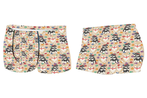 Rainbow Paw Print Shiba Inu Dogs RedMen's All Over Print Boxer Briefs