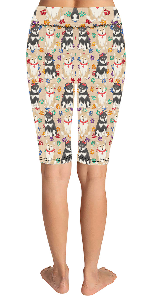Rainbow Paw Print Shiba Inu Dogs Red Knee Length Leggings