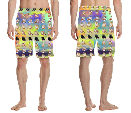 Paradise Wave Shiba Inu Dogs All Over Print Men's Casual Shorts