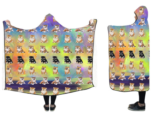 "Paradise Wave Shiba Inu Dogs  Hooded Blanket 50""x40"""