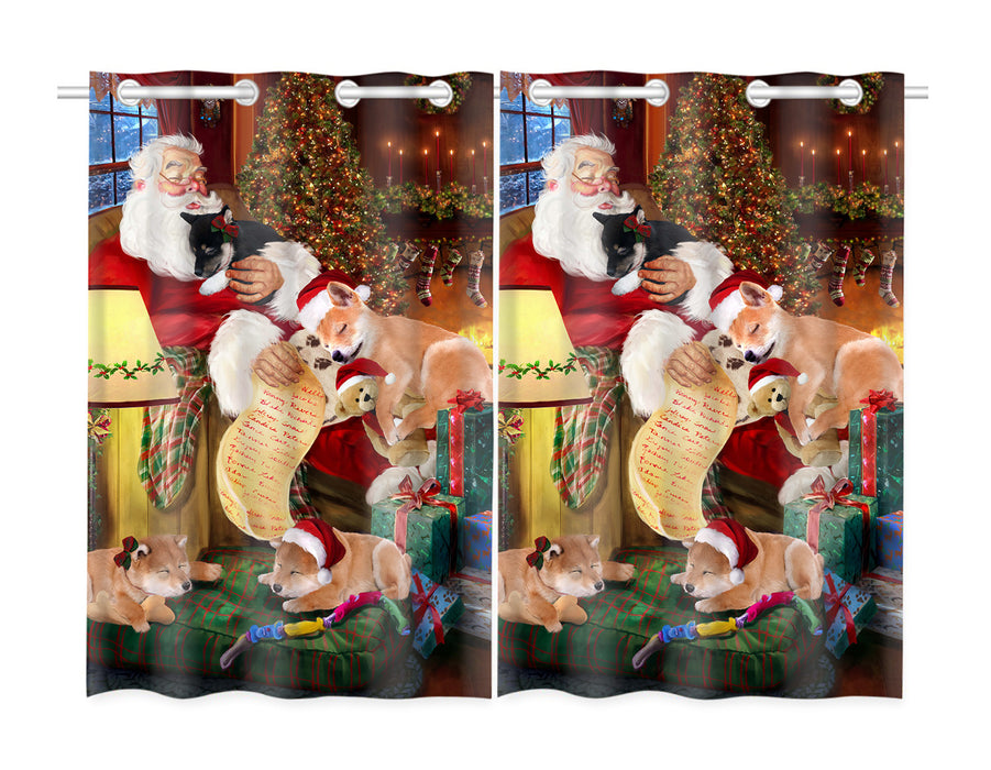 Santa Sleeping with Shiba Inu Dogs Window Curtain