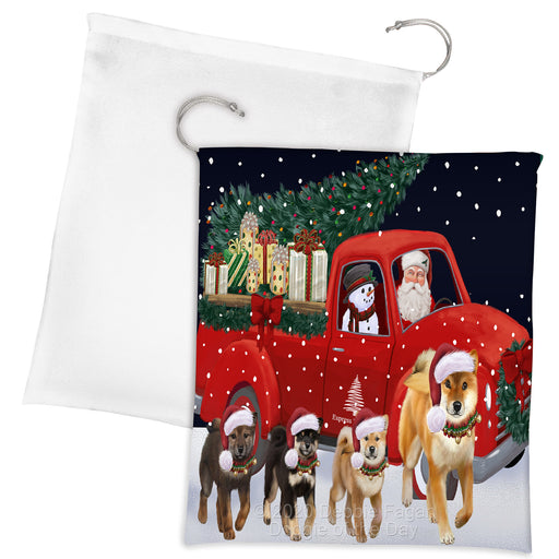 Christmas Express Delivery Red Truck Running Shiba Inu Dogs Drawstring Laundry or Gift Bag LGB48929