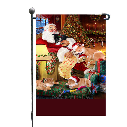 Personalized Shiba Inu Dogs and Puppies Sleeping with Santa Custom Garden Flags GFLG-DOTD-A62668
